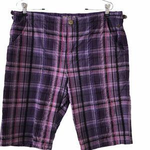 Oleg Cassini Sport Bermuda Shorts Purple Plaid Lrg